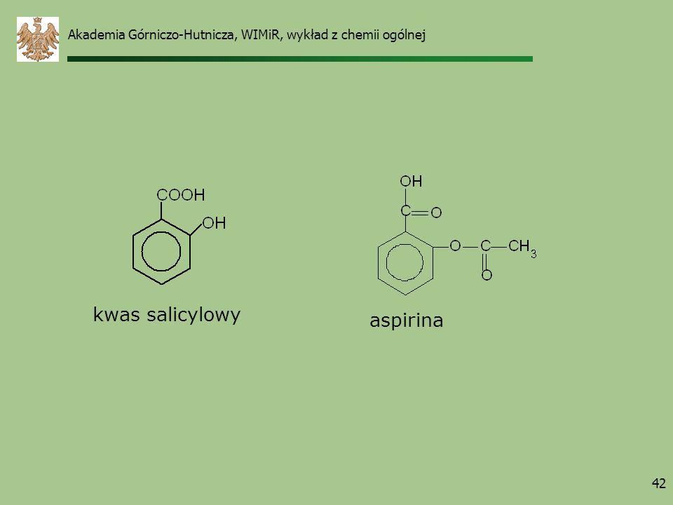 Akademia Górniczo-Hutnicza, WIMiR, wykład z chemii ogólnej 42 kwas salicylowy aspirina