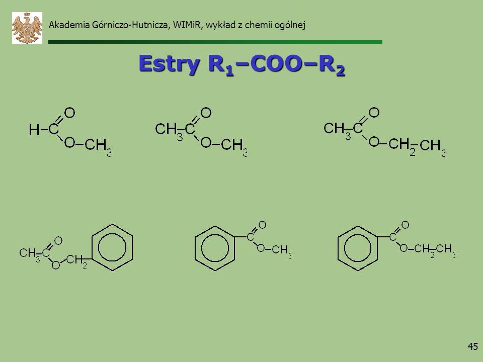 Akademia Górniczo-Hutnicza, WIMiR, wykład z chemii ogólnej 45 Estry R 1 –COO–R 2