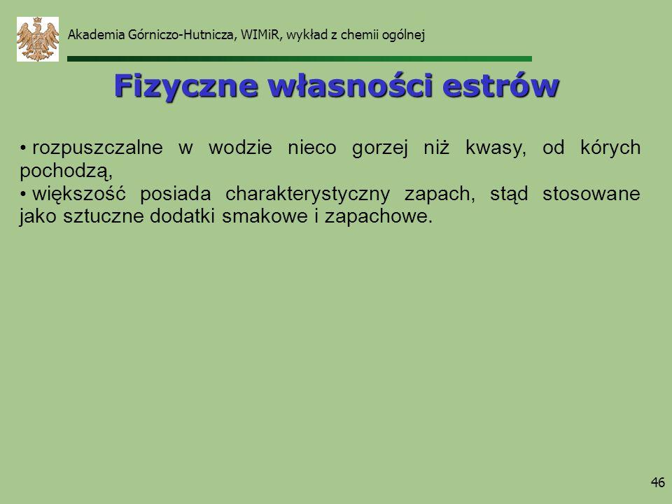 Akademia Górniczo-Hutnicza, WIMiR, wykład z chemii ogólnej 46 Fizyczne własności estrów rozpuszczalne w wodzie nieco gorzej niż kwasy, od kórych pocho