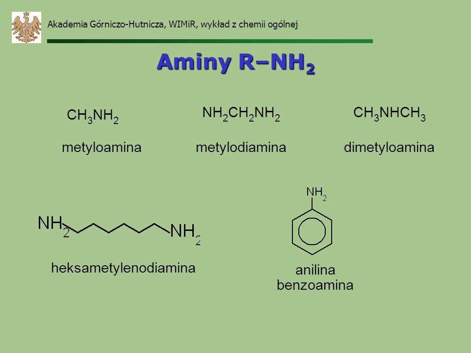 Akademia Górniczo-Hutnicza, WIMiR, wykład z chemii ogólnej Aminy R–NH 2 CH 3 NH 2 metyloamina NH 2 CH 2 NH 2 metylodiamina CH 3 NHCH 3 dimetyloamina h