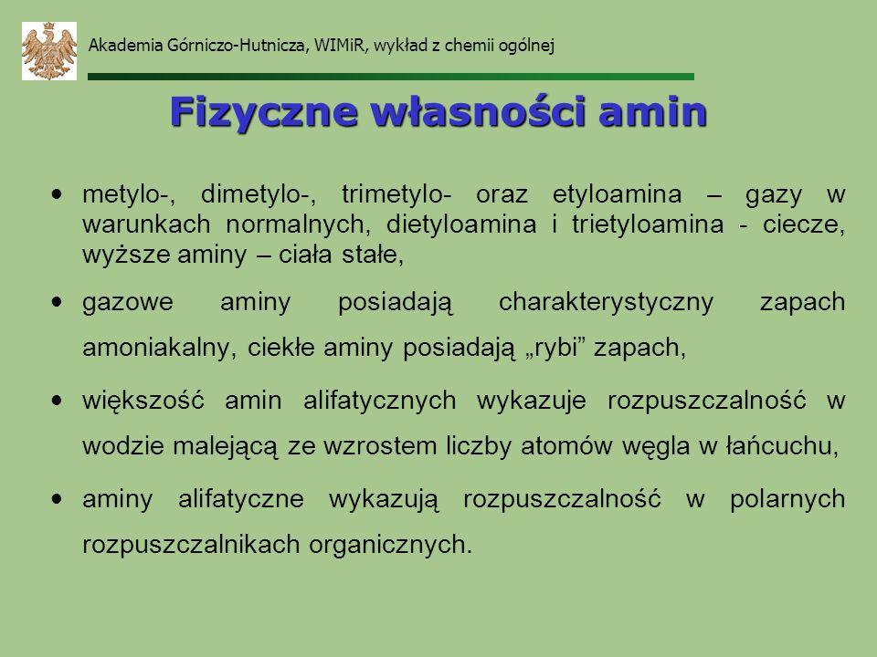Akademia Górniczo-Hutnicza, WIMiR, wykład z chemii ogólnej Fizyczne własności amin metylo-, dimetylo-, trimetylo- oraz etyloamina – gazy w warunkach n