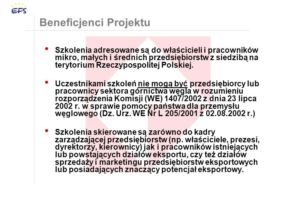 Beneficjenci Projektu Szkolenia adresowane są do właścicieli i pracowników mikro, małych i średnich przedsiębiorstw z siedzibą na terytorium Rzeczypospolitej Polskiej.