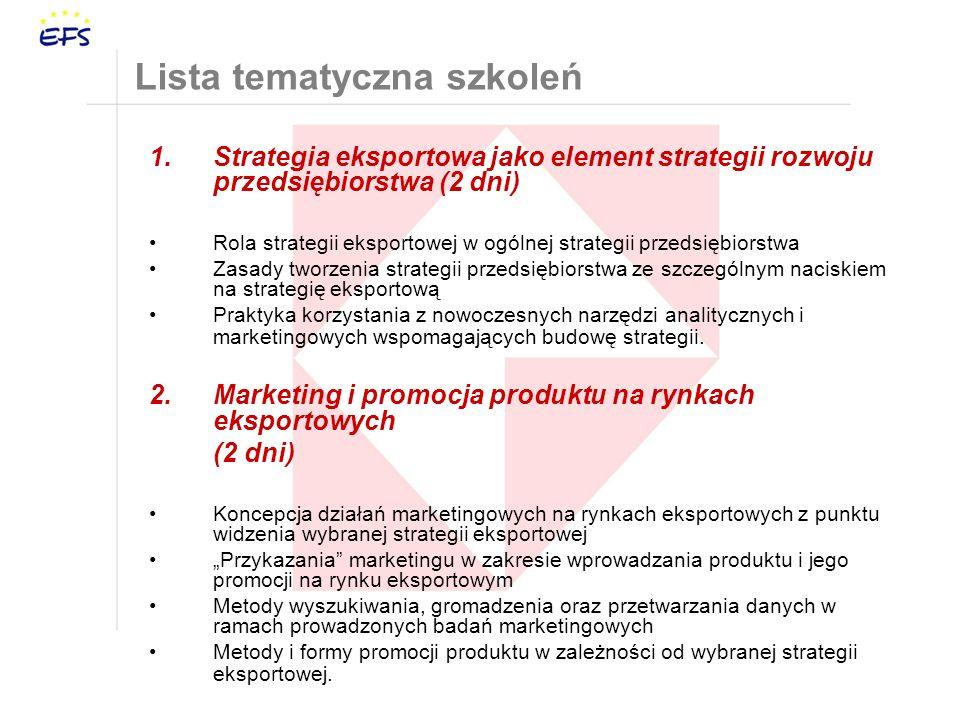 Lista tematyczna szkoleń 1.Strategia eksportowa jako element strategii rozwoju przedsiębiorstwa (2 dni) Rola strategii eksportowej w ogólnej strategii przedsiębiorstwa Zasady tworzenia strategii przedsiębiorstwa ze szczególnym naciskiem na strategię eksportową Praktyka korzystania z nowoczesnych narzędzi analitycznych i marketingowych wspomagających budowę strategii.