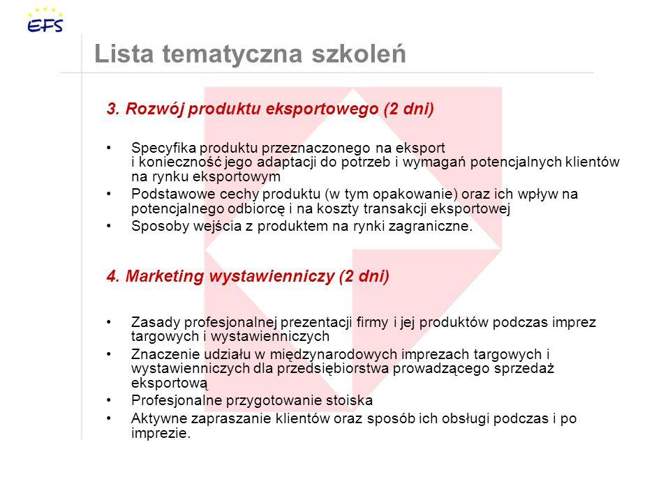 3. Rozwój produktu eksportowego (2 dni) Specyfika produktu przeznaczonego na eksport i konieczność jego adaptacji do potrzeb i wymagań potencjalnych k