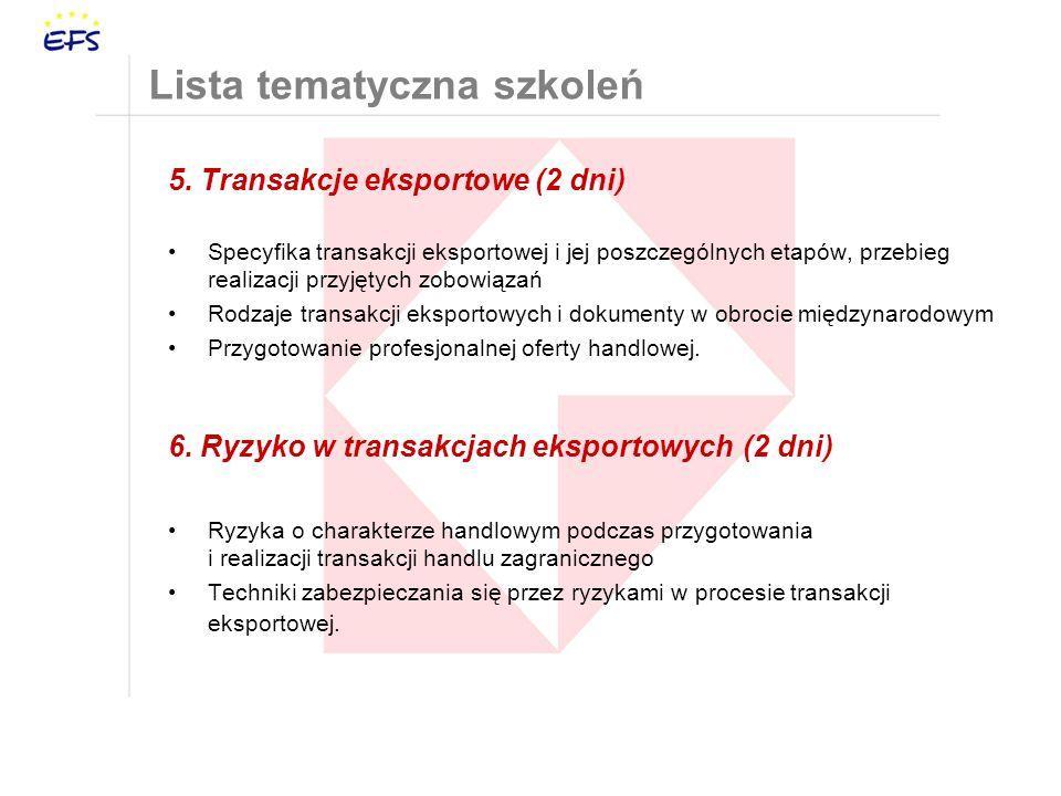 5. Transakcje eksportowe (2 dni) Specyfika transakcji eksportowej i jej poszczególnych etapów, przebieg realizacji przyjętych zobowiązań Rodzaje trans