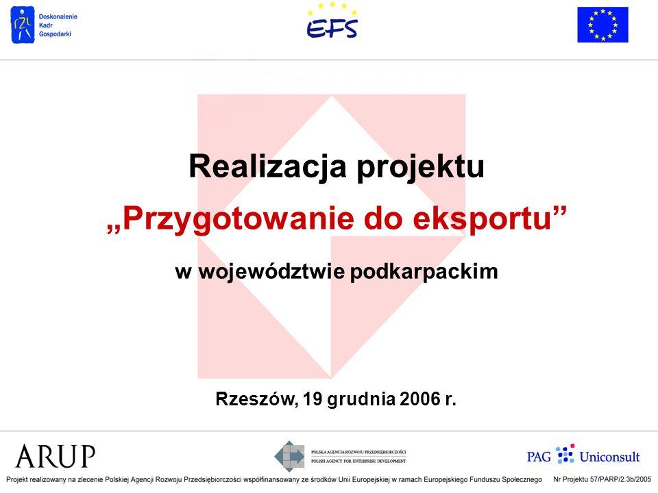 Realizacja projektu Przygotowanie do eksportu w województwie podkarpackim Rzeszów, 19 grudnia 2006 r.