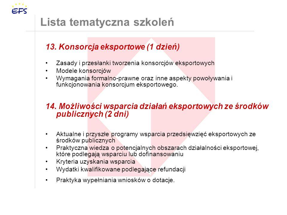 13. Konsorcja eksportowe (1 dzień) Zasady i przesłanki tworzenia konsorcjów eksportowych Modele konsorcjów Wymagania formalno-prawne oraz inne aspekty