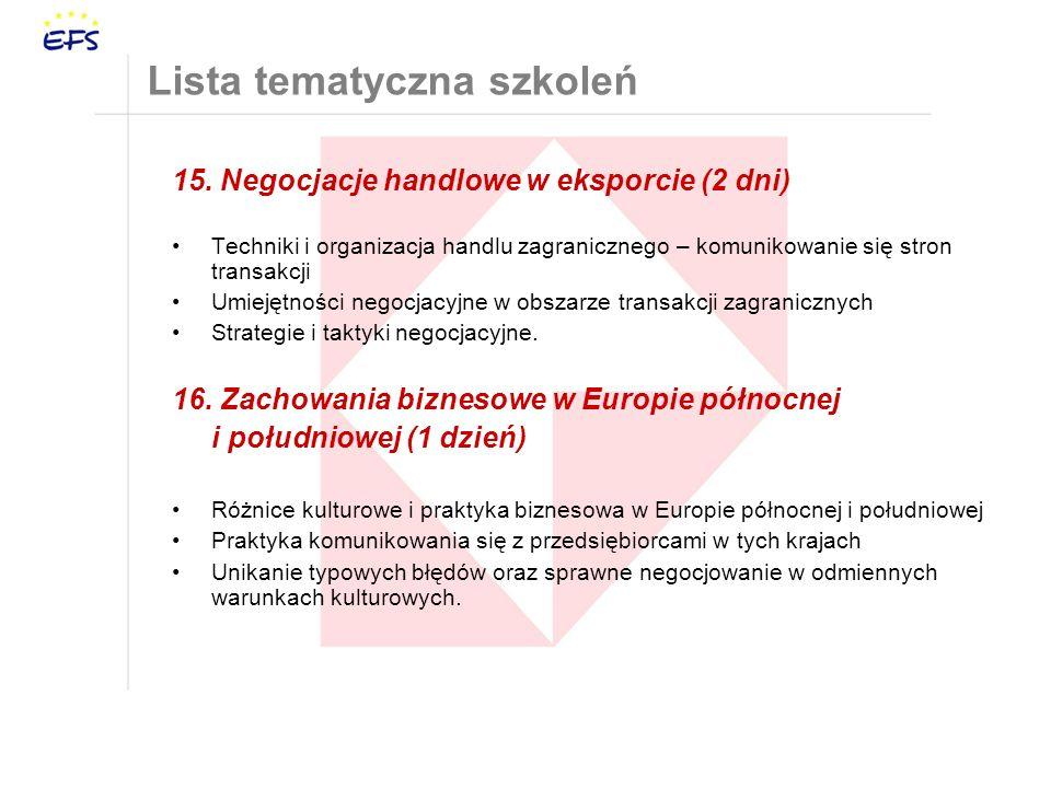 15. Negocjacje handlowe w eksporcie (2 dni) Techniki i organizacja handlu zagranicznego – komunikowanie się stron transakcji Umiejętności negocjacyjne