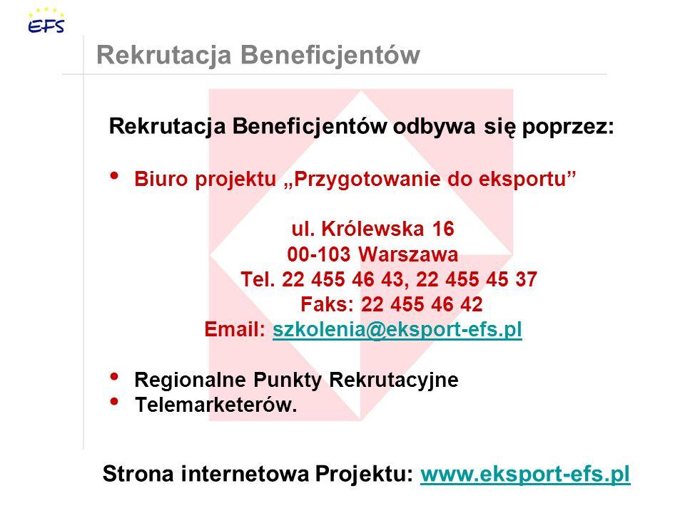 Rekrutacja Beneficjentów Rekrutacja Beneficjentów odbywa się poprzez: Biuro projektu Przygotowanie do eksportu ul.