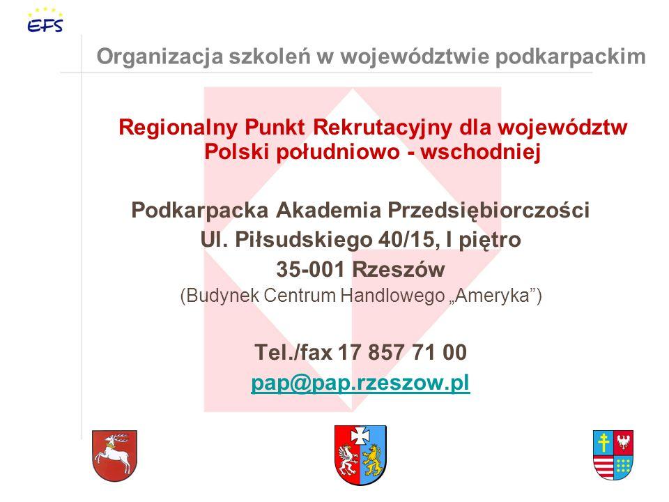 Organizacja szkoleń w województwie podkarpackim Regionalny Punkt Rekrutacyjny dla województw Polski południowo - wschodniej Podkarpacka Akademia Przedsiębiorczości Ul.