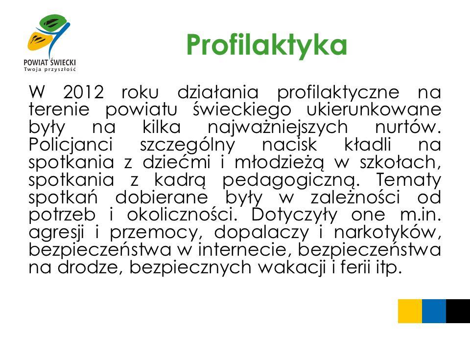 Profilaktyka W 2012 roku działania profilaktyczne na terenie powiatu świeckiego ukierunkowane były na kilka najważniejszych nurtów. Policjanci szczegó