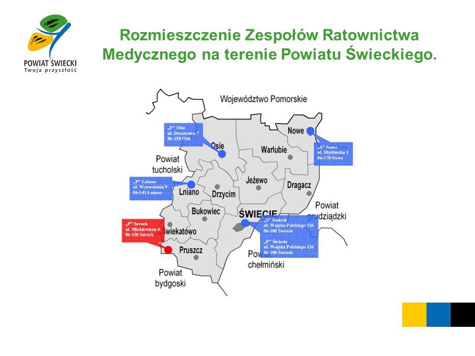 Rozmieszczenie Zespołów Ratownictwa Medycznego na terenie Powiatu Świeckiego.