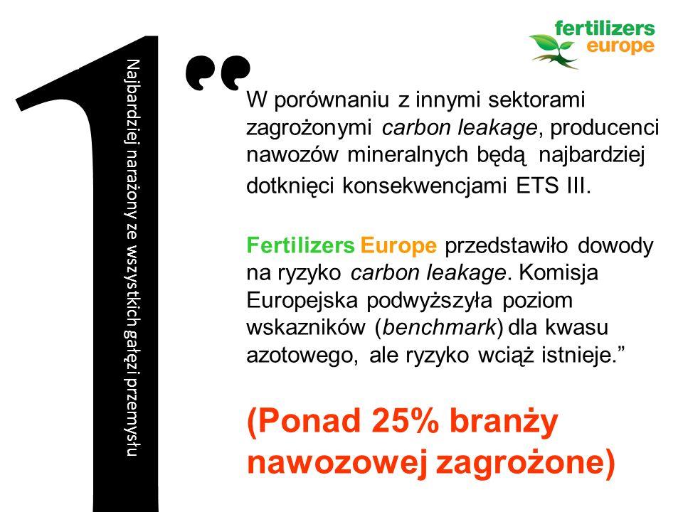 W porównaniu z innymi sektorami zagrożonymi carbon leakage, producenci nawozów mineralnych będą najbardziej dotknięci konsekwencjami ETS III.
