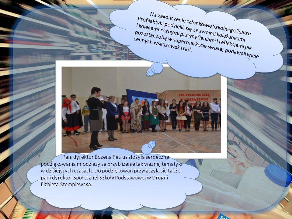 Pani dyrektor Bożena Petrus złożyła serdeczne podziękowania młodzieży za przybliżenie tak ważnej tematyki w dzisiejszych czasach.