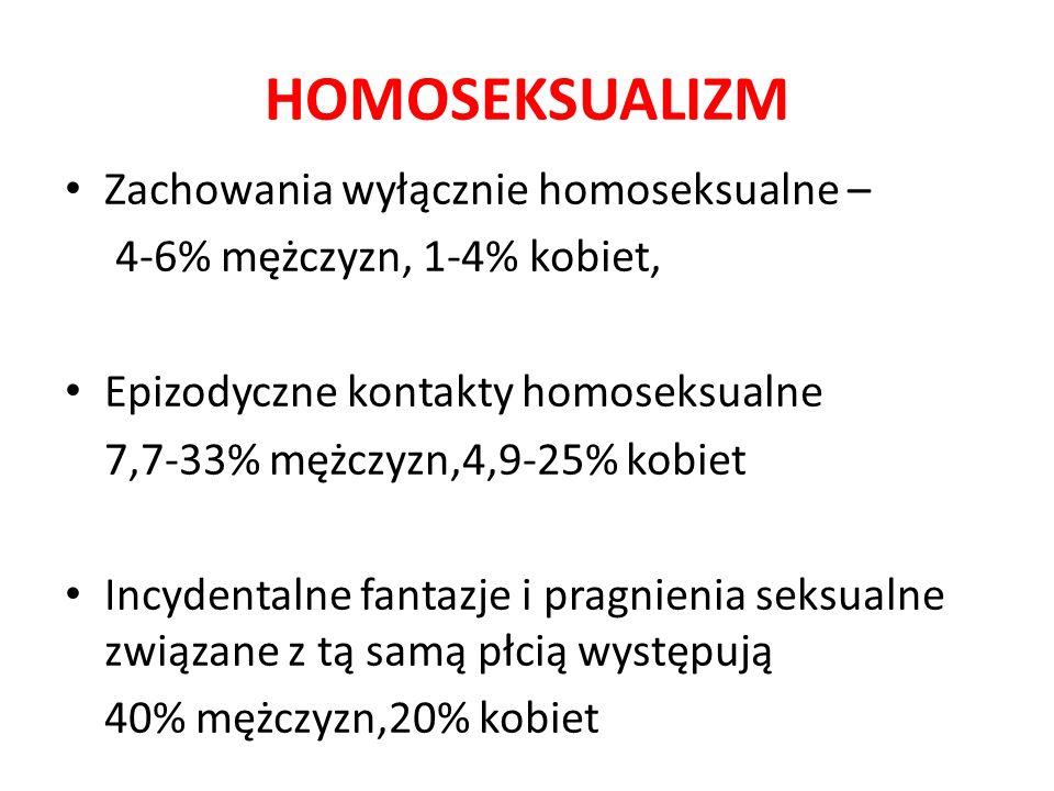 HOMOSEKSUALIZM Zachowania wyłącznie homoseksualne – 4-6% mężczyzn, 1-4% kobiet, Epizodyczne kontakty homoseksualne 7,7-33% mężczyzn,4,9-25% kobiet Incydentalne fantazje i pragnienia seksualne związane z tą samą płcią występują 40% mężczyzn,20% kobiet