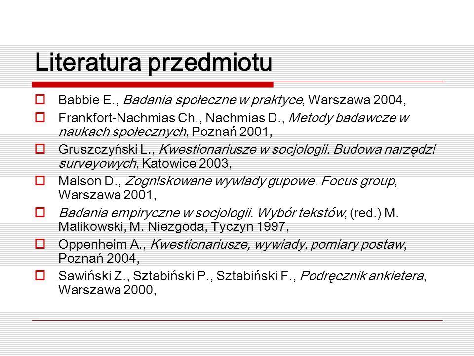 Literatura przedmiotu Babbie E., Badania społeczne w praktyce, Warszawa 2004, Frankfort-Nachmias Ch., Nachmias D., Metody badawcze w naukach społecznych, Poznań 2001, Gruszczyński L., Kwestionariusze w socjologii.