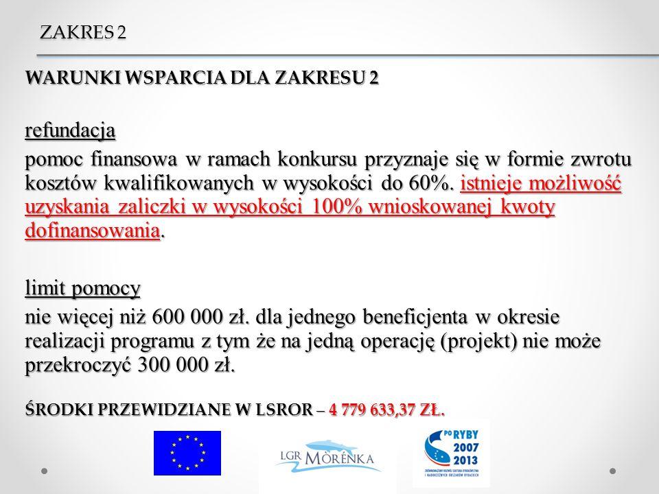 WARUNKI WSPARCIA DLA ZAKRESU 2 refundacja pomoc finansowa w ramach konkursu przyznaje się w formie zwrotu kosztów kwalifikowanych w wysokości do 60%.