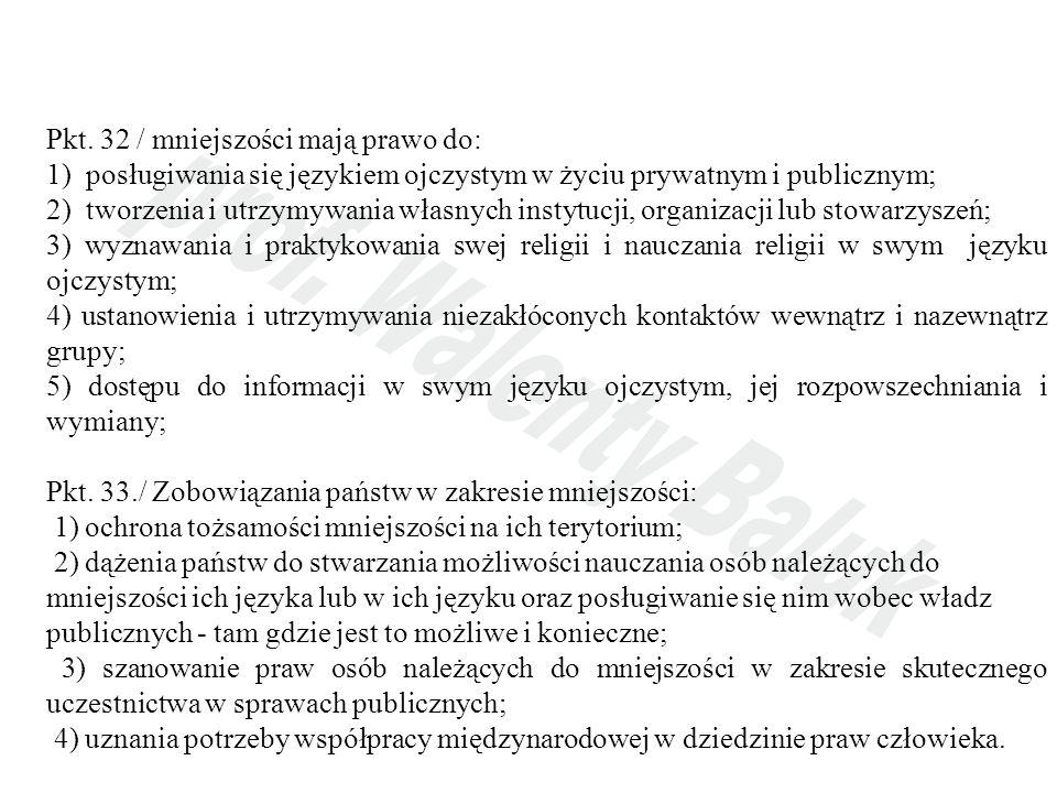Pkt. 32 / mniejszości mają prawo do: 1) posługiwania się językiem ojczystym w życiu prywatnym i publicznym; 2) tworzenia i utrzymywania własnych insty