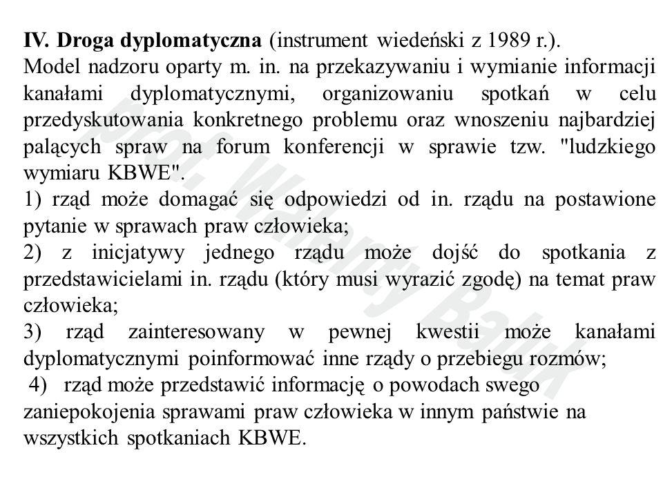 IV. Droga dyplomatyczna (instrument wiedeński z 1989 r.). Model nadzoru oparty m. in. na przekazywaniu i wymianie informacji kanałami dyplomatycznymi,