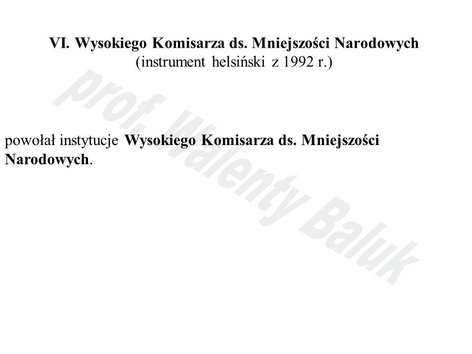 VI. Wysokiego Komisarza ds. Mniejszości Narodowych (instrument helsiński z 1992 r.) powołał instytucje Wysokiego Komisarza ds. Mniejszości Narodowych.