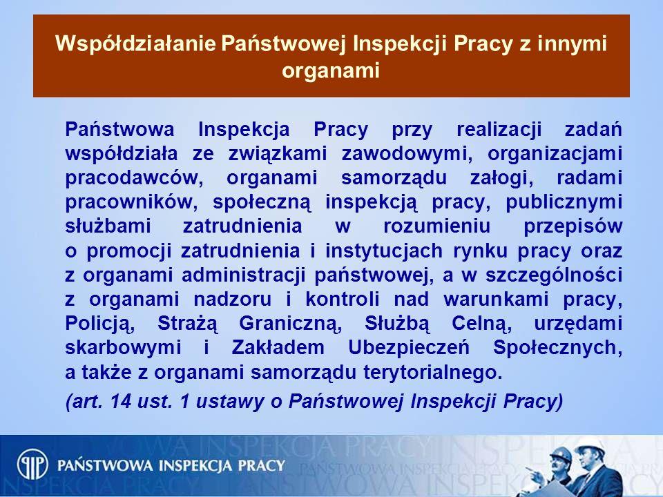 Współdziałanie Państwowej Inspekcji Pracy z innymi organami Państwowa Inspekcja Pracy przy realizacji zadań współdziała ze związkami zawodowymi, organ