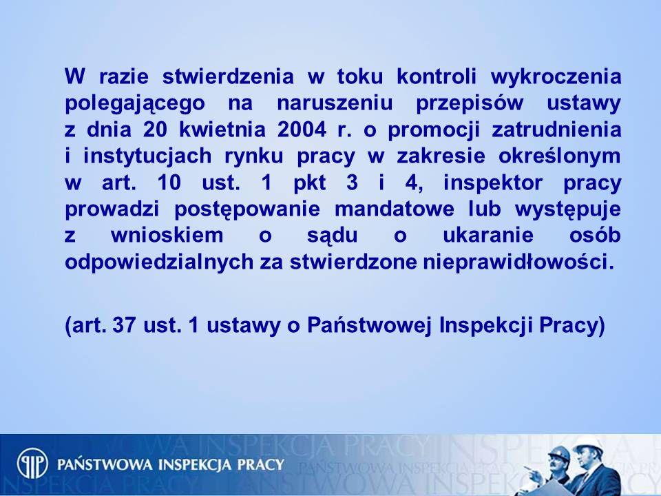 W razie stwierdzenia w toku kontroli wykroczenia polegającego na naruszeniu przepisów ustawy z dnia 20 kwietnia 2004 r. o promocji zatrudnienia i inst
