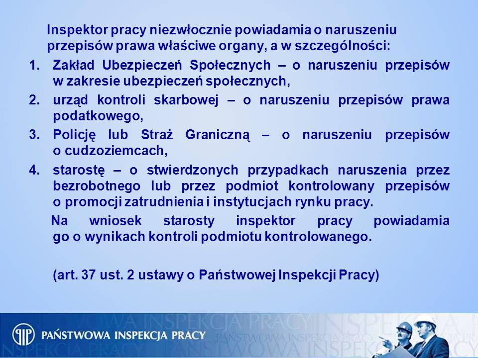 Inspektor pracy niezwłocznie powiadamia o naruszeniu przepisów prawa właściwe organy, a w szczególności: 1.Zakład Ubezpieczeń Społecznych – o naruszen