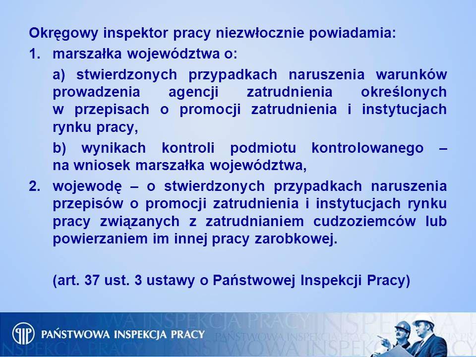 Okręgowy inspektor pracy niezwłocznie powiadamia: 1.marszałka województwa o: a) stwierdzonych przypadkach naruszenia warunków prowadzenia agencji zatr