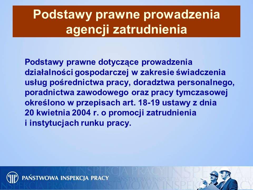 Podstawy prawne prowadzenia agencji zatrudnienia Podstawy prawne dotyczące prowadzenia działalności gospodarczej w zakresie świadczenia usług pośredni