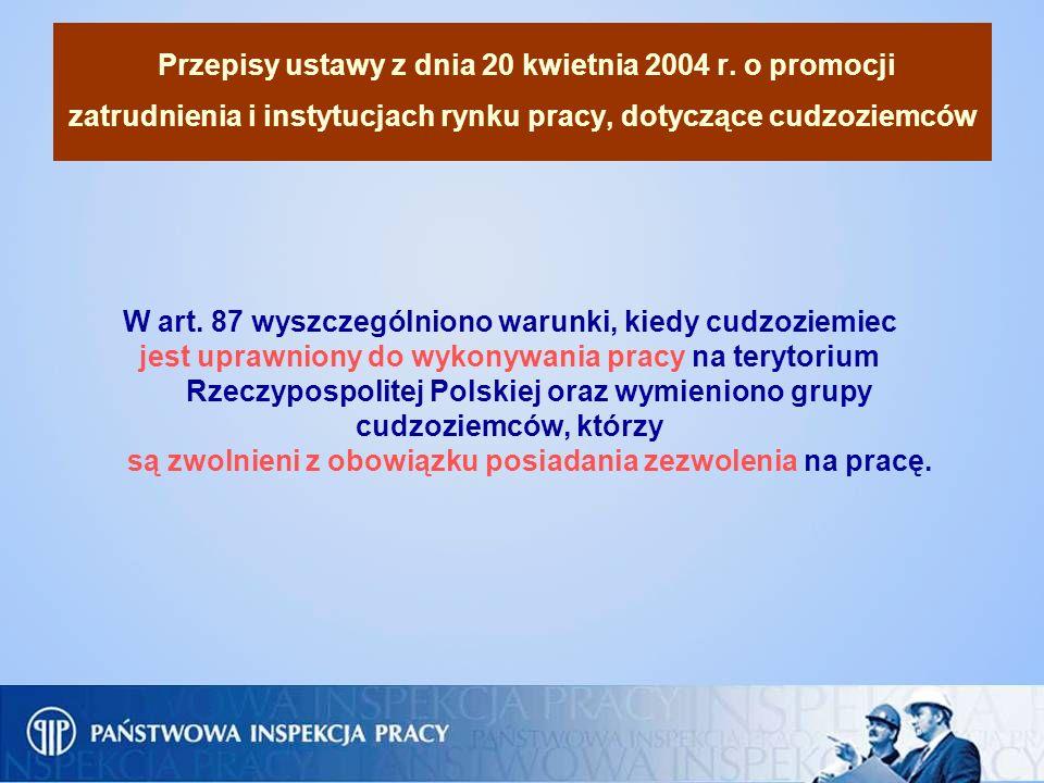 Przepisy ustawy z dnia 20 kwietnia 2004 r. o promocji zatrudnienia i instytucjach rynku pracy, dotyczące cudzoziemców W art. 87 wyszczególniono warunk