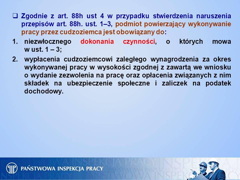 Zgodnie z art. 88h ust 4 w przypadku stwierdzenia naruszenia przepisów art. 88h. ust. 1–3, podmiot powierzający wykonywanie pracy przez cudzoziemca je