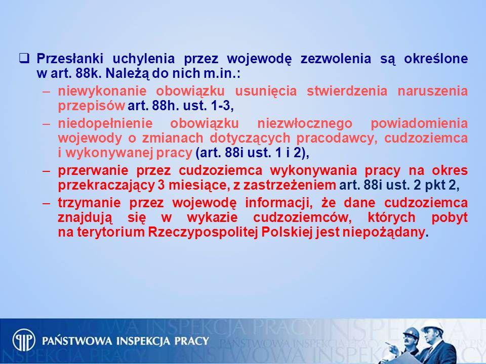Przesłanki uchylenia przez wojewodę zezwolenia są określone w art. 88k. Należą do nich m.in.: –niewykonanie obowiązku usunięcia stwierdzenia naruszeni