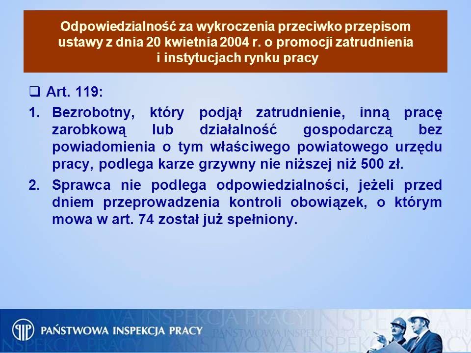 Odpowiedzialność za wykroczenia przeciwko przepisom ustawy z dnia 20 kwietnia 2004 r. o promocji zatrudnienia i instytucjach rynku pracy Art. 119: 1.B