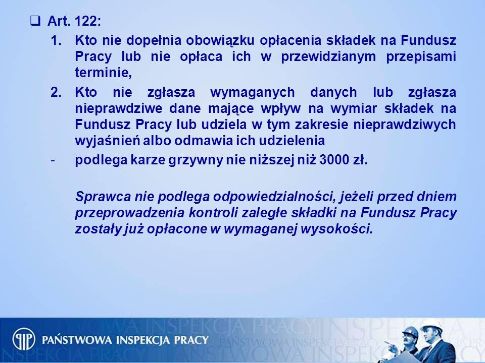 Art. 122: 1.Kto nie dopełnia obowiązku opłacenia składek na Fundusz Pracy lub nie opłaca ich w przewidzianym przepisami terminie, 2.Kto nie zgłasza wy