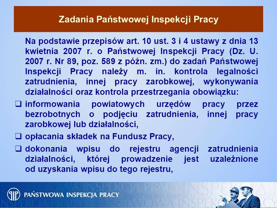 Zadania Państwowej Inspekcji Pracy Na podstawie przepisów art. 10 ust. 3 i 4 ustawy z dnia 13 kwietnia 2007 r. o Państwowej Inspekcji Pracy (Dz. U. 20