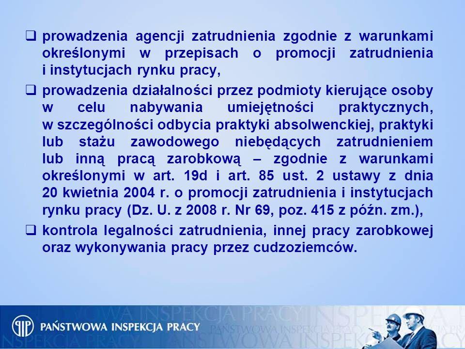 prowadzenia agencji zatrudnienia zgodnie z warunkami określonymi w przepisach o promocji zatrudnienia i instytucjach rynku pracy, prowadzenia działaln