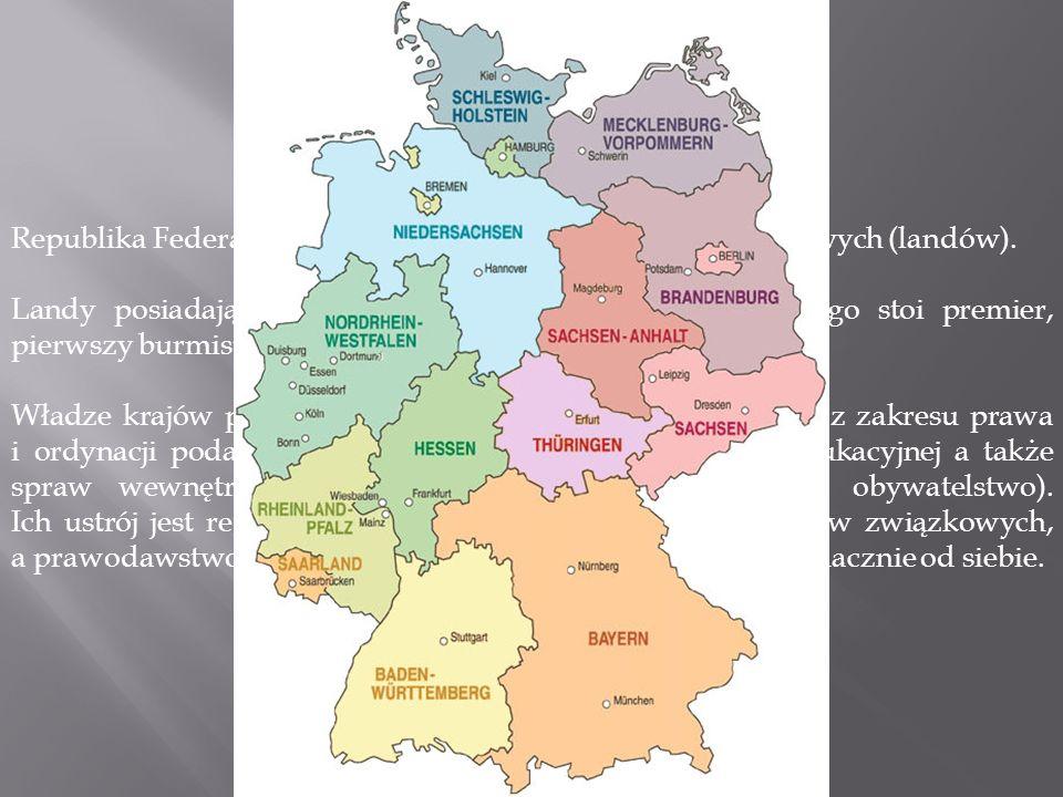 Republika Federalna Niemiec składa się z 16 krajów związkowych (landów).