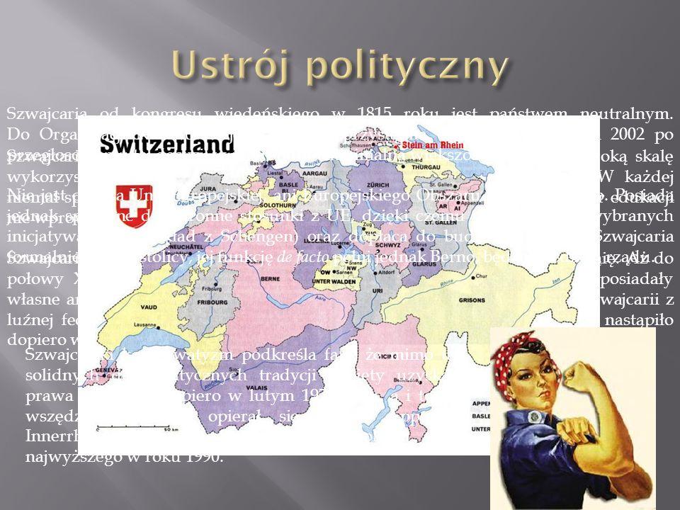 Szwajcaria jest federacją demokratyczną oraz parlamentarną, gdzie na szeroką skalę wykorzystywana jest instytucja referendum (demokracja bezpośrednia).