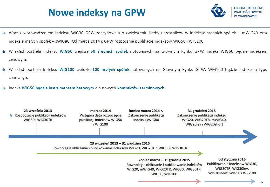 -14- Nowe indeksy na GPW Wraz z wprowadzeniem indeksu WIG30 GPW zdecydowała o zwiększeniu liczby uczestników w indeksie średnich spółek – mWIG40 oraz