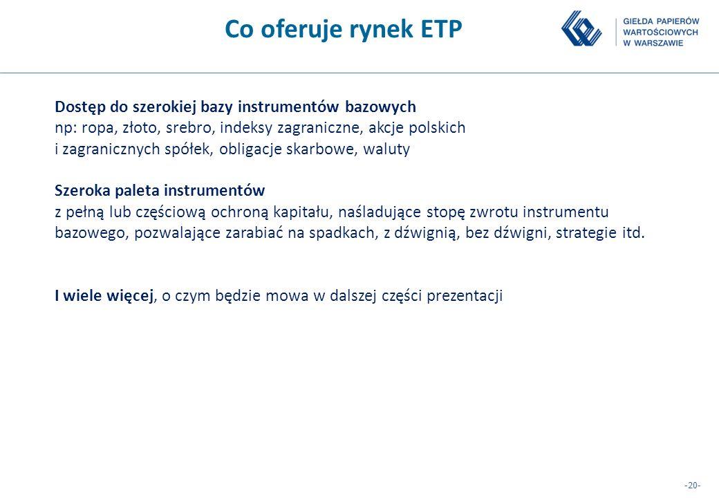 -20- Co oferuje rynek ETP Dostęp do szerokiej bazy instrumentów bazowych np: ropa, złoto, srebro, indeksy zagraniczne, akcje polskich i zagranicznych