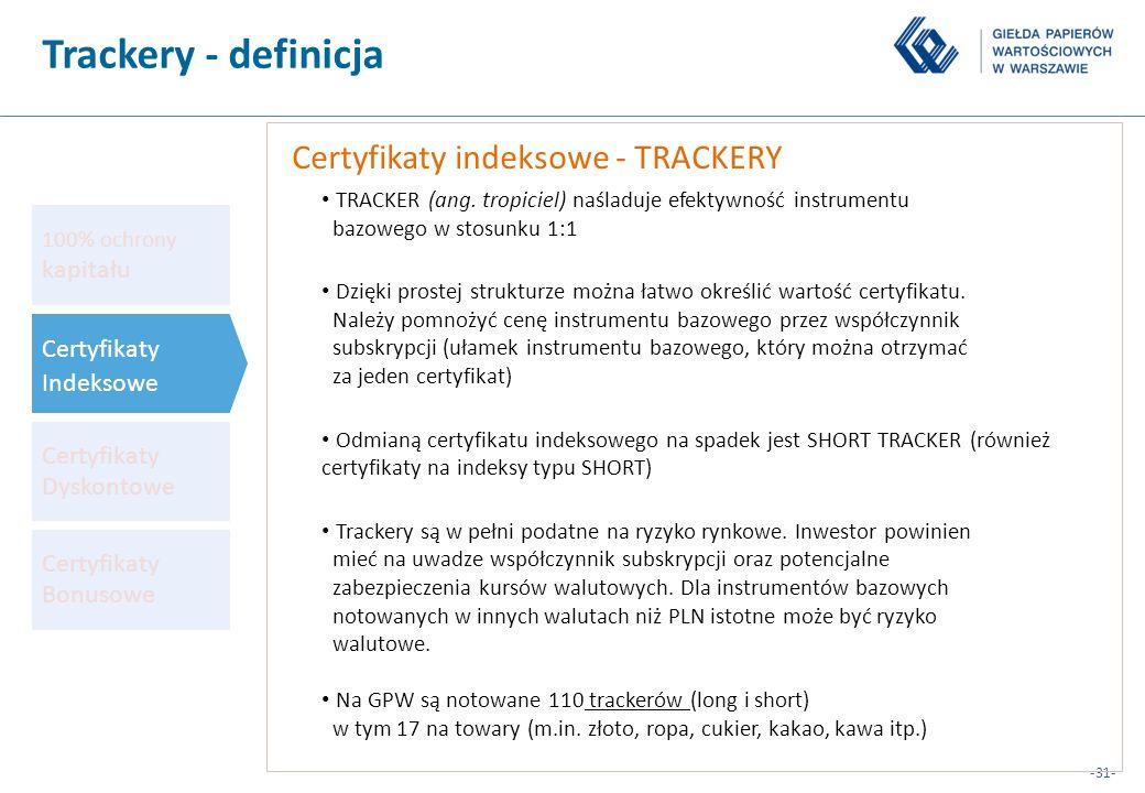 -31- Certyfikaty indeksowe - TRACKERY TRACKER (ang. tropiciel) naśladuje efektywność instrumentu bazowego w stosunku 1:1 Dzięki prostej strukturze moż