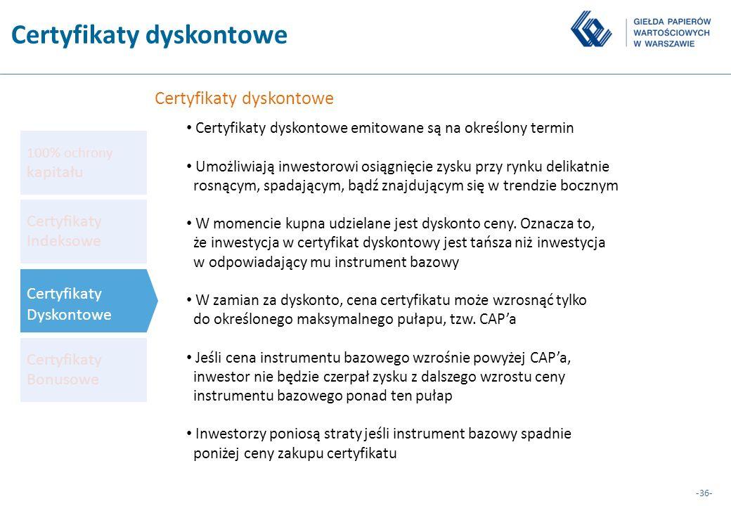 -36- Certyfikaty dyskontowe Certyfikaty dyskontowe emitowane są na określony termin Umożliwiają inwestorowi osiągnięcie zysku przy rynku delikatnie ro