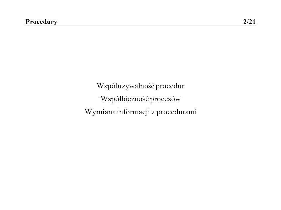Procedury - współużywalność 3/21 współużywalność procedury - polega na tym, że przerwanie wykonywania procedury i powtórne jej wywołanie z innego miejsca programu (np.