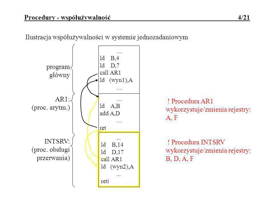 Procedury - współużywalność 4/21 Ilustracja współużywalności w systemie jednozadaniowym … ld A,B add A,D … ret AR1: (proc.