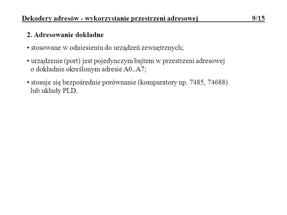 Dekodery adresów - wykorzystanie przestrzeni adresowej 9/15 2. Adresowanie dokładne stosowane w odniesieniu do urządzeń zewnętrznych; urządzenie (port