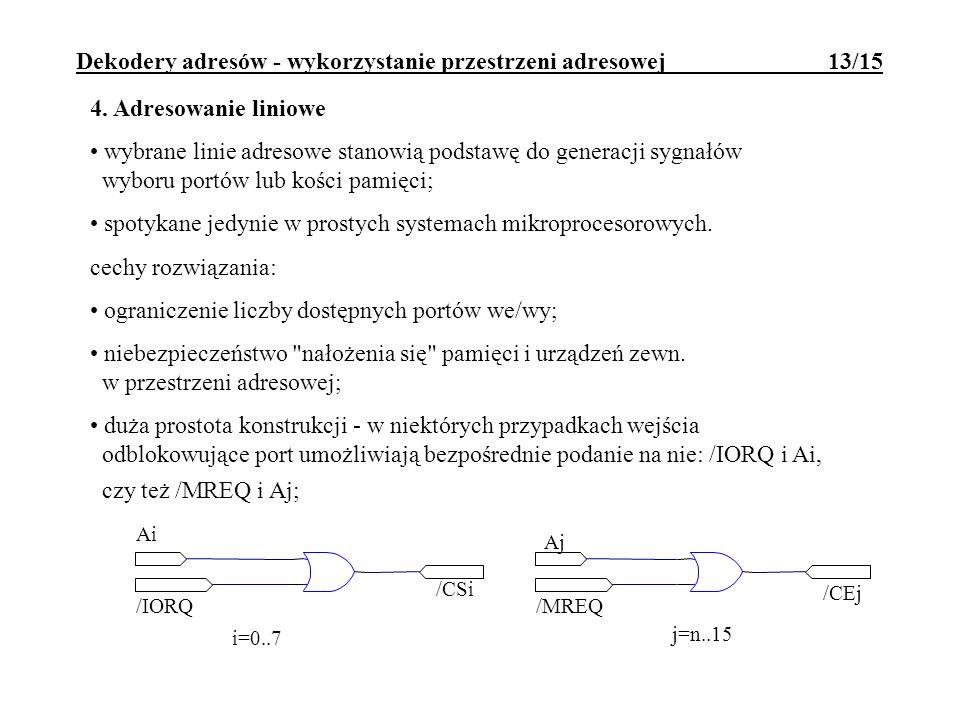 Dekodery adresów - wykorzystanie przestrzeni adresowej 13/15 Ai /IORQ Aj /MREQ /CSi /CEj i=0..7 j=n..15 4. Adresowanie liniowe wybrane linie adresowe
