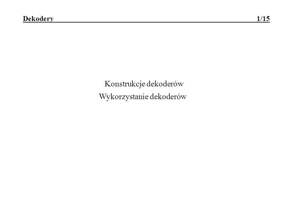 Dekodery adresów - wykorzystanie przestrzeni adresowej 12/15 STERSTER STER