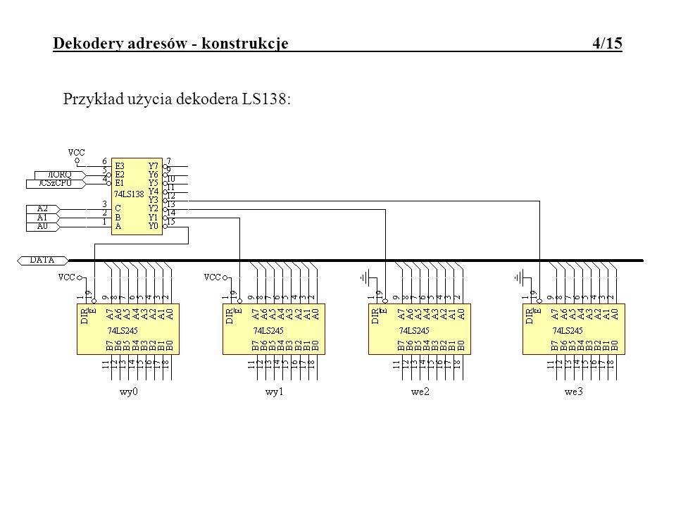 Dekodery adresów - konstrukcje 4/15 Przykład użycia dekodera LS138: