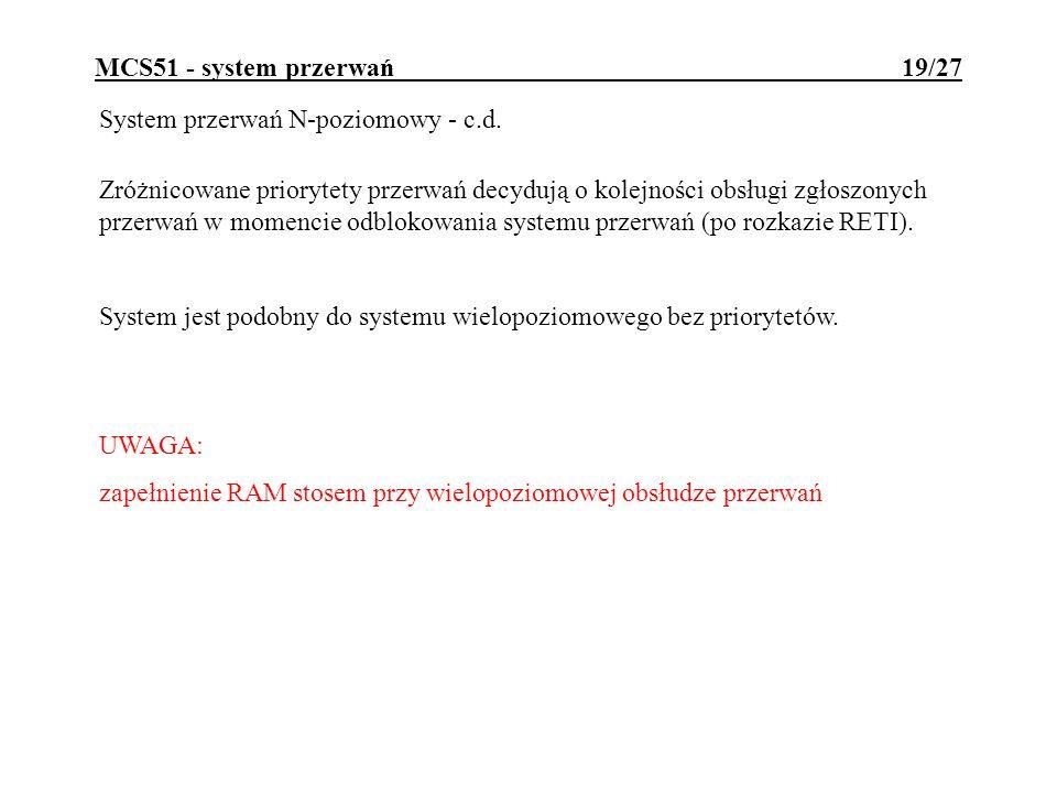 MCS51 - system przerwań 19/27 System przerwań N-poziomowy - c.d. UWAGA: zapełnienie RAM stosem przy wielopoziomowej obsłudze przerwań Zróżnicowane pri