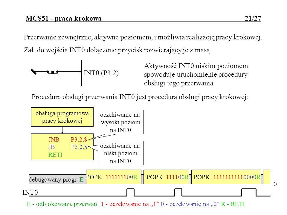 MCS51 - praca krokowa 21/27 Przerwanie zewnętrzne, aktywne poziomem, umożliwia realizację pracy krokowej. Zał. do wejścia INT0 dołączono przycisk rozw